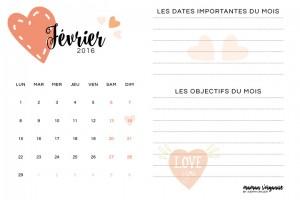 Le calendrier de février 2016