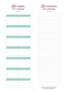 Planning des repas et des courses de la semaine à télécharger et imprimer au format A4